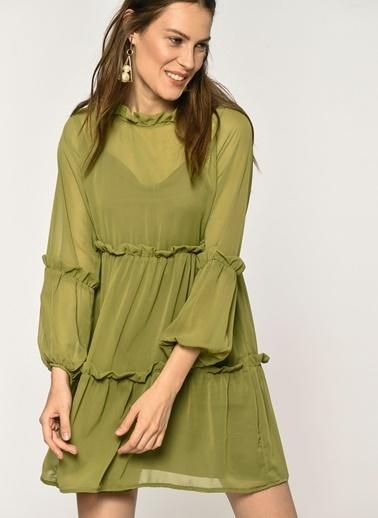 Loves You Fırfırlı Şifon Elbise Yeşil